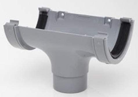 POLYPIPE RR106 GREY Stop End Outlet for 112mm half round guttering system