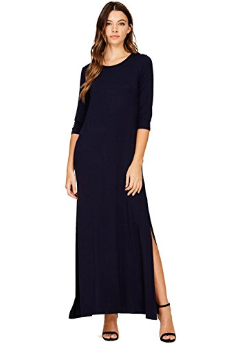 High Long 3 Pockets Women s Maxi with Dress Navy Split Annabelle 4 Sleeve pqgXf0wZx