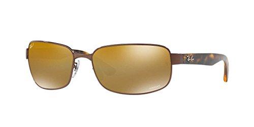 Ray-Ban Mens Steel Man Polarized Iridium Rectangular Sunglasses, Brown, 65 mm