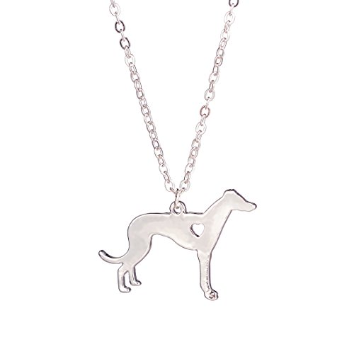 - YuQiang Silver Greyhound Necklace Dog Pendant Jewelry Breed Pet Jewelry Memorial Gift Hunters lovers