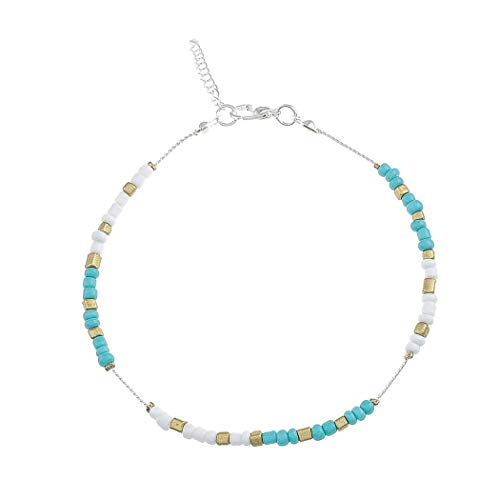 (Aukmla Turquoise Beaded Anklet Beach Ankle Bracelet Foot Chain Barefoot Sandal Adjustable for Women and Girls)