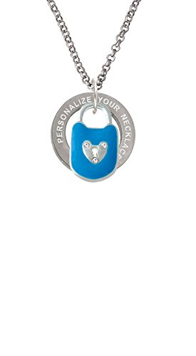 Hot Blue Enamel Lock with Clear Crystals Custom Engraved Affirmation Ring Necklace