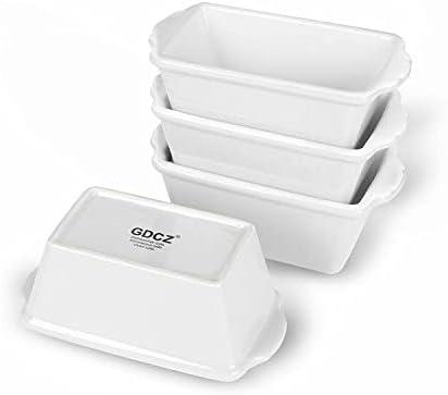 GDCZ Mini Loaf Pan Set, 6.2-Inch 4 Pcs Ceramics Non-Stick Baking Bread Pan, White