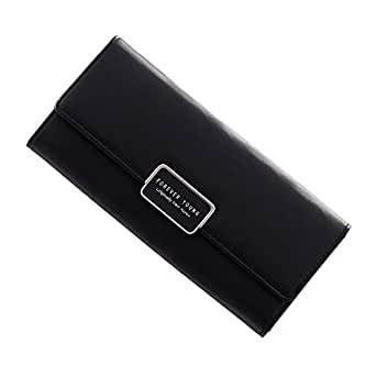 Wanhe Ladies Wallet PU Leather Wallet Large Capacity Long Credit Card Clutch Purse - Black - Small