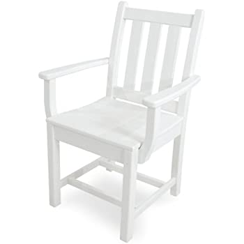 Amazon.com : POLYWOOD TGD200WH Traditional Garden Dining Arm Chair ...