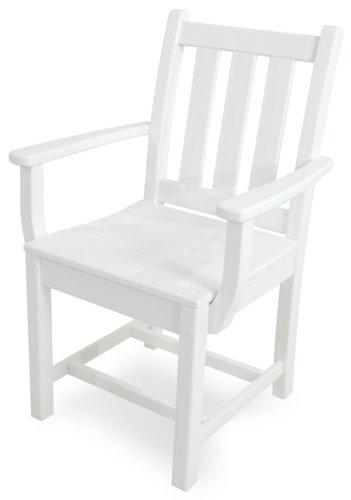 POLYWOOD TGD200WH Traditional Garden Dining Arm Chair, White For Sale