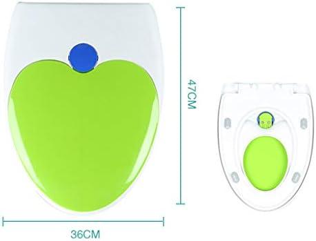 耐久性のあるスロー閉じるバスルームの装飾を厚くトイレボウルふたキッズトイレの便座大人子供ユニバーサル色WCカバーU字型のV字型の細長いカバー (Color : Green, Size : V Type)