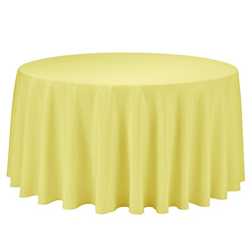 VEEYOO Round Tablecloth 100% Polyester Circular Bridal Shower Table Cloth - Solid Soft Dinner Table Cover for Wedding Party Restaurant (Yellow, 108 inch)
