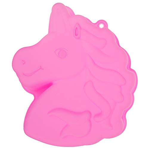 Sakolla Unicorn Silicone Cake Pan - Large Size Unicorn Bread Baking Tray,Non-Stick Silicone Biscuits Dessert Bakeware,Cheesecake Muffin Mold (Horse Mold Cake Pan)