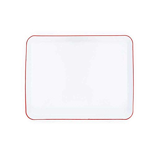 - Crow Canyon Home Enamelware Jelly Roll Pan, 16 x 12.25 inches, Vintage White/Red