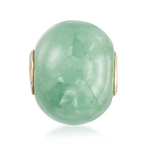 Ross-Simons 16mm Green Jade Bead Pendant in 14kt Yellow Gold (Yellow Jade 14kt Pendant)