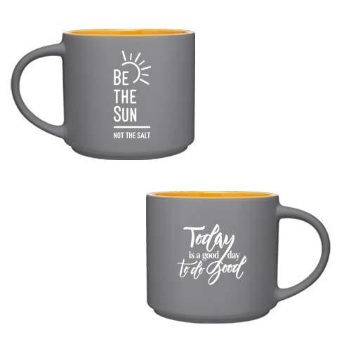 (Be The Sun Ceramic Mug (Grey/Gold))