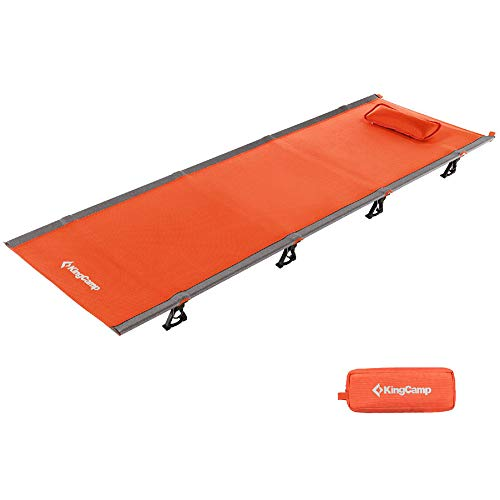 KingCamp Ultralight Camping Cot with Removable Pillow 4.9 Pounds Aluminum Frame Compact Folding Tent Bed with Carrying Bag for Outdoor Travel Hiking Backpacking, Support 265lbs, 75 x 25 x 4.7inches