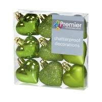 Christmas Decorations 9 Pack 40mm Multi Finish Heart baubles - Apple Green