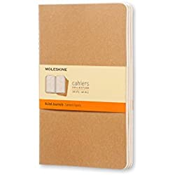 "Moleskine Cahier Soft Cover Journal, Set of 3, Ruled, Large (5"" x 8.25"") Kraft Brown - for Use as Journal, Sketchbook, Composition Notebook"