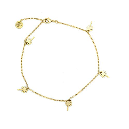 Pura Vida Gold Palm Tree Anklet - Waterproof, Artisan Handmade, Adjustable, Threaded, Fashion Jewelry for Girls/Women