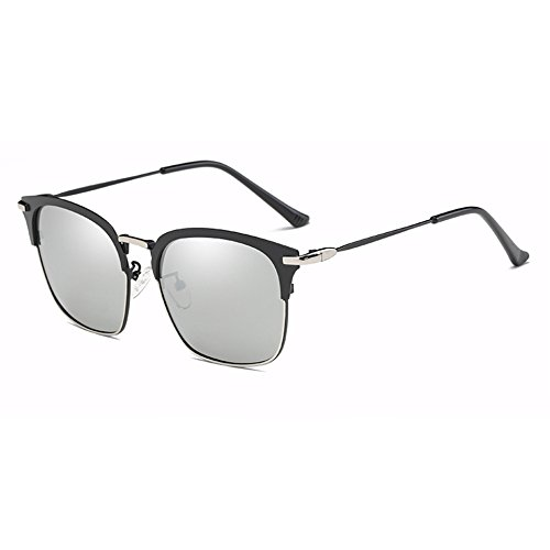 Guía silver polarizadas Gafas Sol de Gafas UV400 Negro Classic de de de Retro TL Plata Sol Gafas Sunglasses black Sol Hombres aqwnRA48