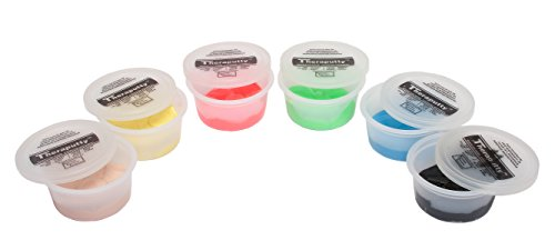CanDo TheraPutty Standard Exercise Putty, 6 Piece Set (Tan, Yellow, Red, Green, Blue, Black), 2 (Hand Exercise Putty)