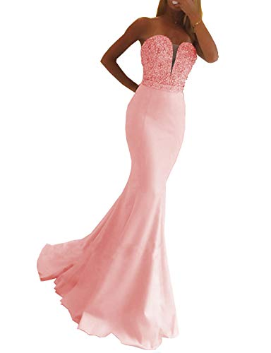 Scarisee Women's Mermaid/Trumpet Sweetheart Beaded Evening Dresses Formal Prom Wedding Party Gown Pink 6 - Socks Hearts Beaded