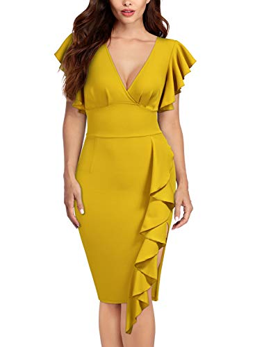 (Knitee Women's Deep-V Neck Ruffle Sleeves Cocktail Party Pencil Dress,Small,Yellow)