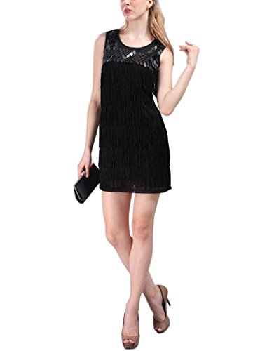 [Scoop Tassel Roaring 20S Twenties Dresses Party Fashion Costume Clothing , Black, One Size] (1920s Womens Fashion Costumes)