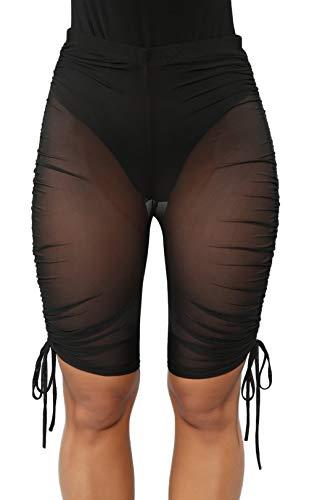1fc1d4677b WenaZao Women's Sexy Perspective See Throug Mesh Sheer Swim Shorts Pants  Bikini Bottom Cover up (