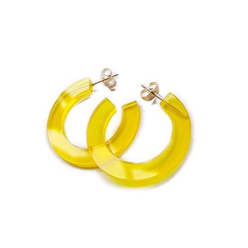 (New Arrival Creative Transparent Acrylic Material Exaggerated Circular Shape Candy Colors Women/Girl's Charm Earrings Ear Studs(5cm) (Yellow(5cm), 5))