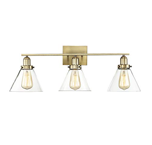 Savoy House 8-9130-3-322 Drake 3-Light Bathroom Vanity Light in a Warm Brass Finish with Clear Glass (29