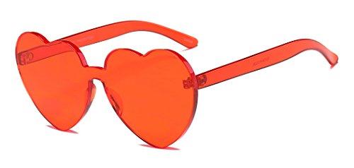 Heart Shape Rimless Sunglasses One Piece Transparent Glasses Fashion Candy - Shades Heart