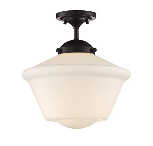 (Trade Winds Lighting TW60050ORB 1-Light Transitional Semi-Flush Mount Ceiling Light, 100 Watts, in Oil Rubbed Bronze)