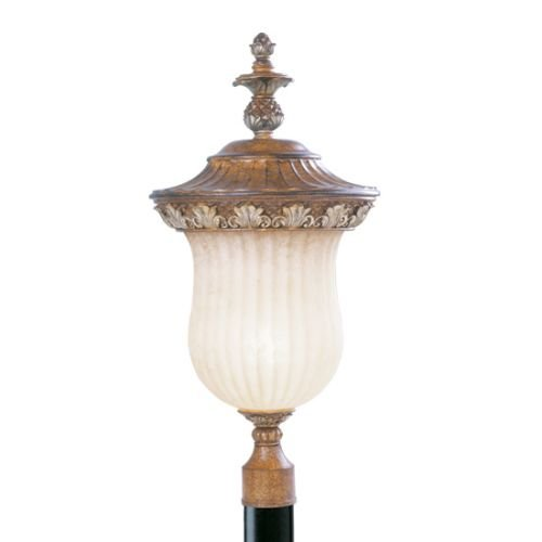 Livex Lighting 8494-57 Outdoor Post with Vintage Carved Scavo Glass Shades, Venetian Patina by Livex Lighting