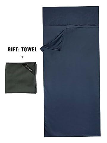 Emins Outdoor Silk Sleeping Bag Liner Single Compact NaturalSleepsack Rectangle Sheet Liner with One Towel, Grey