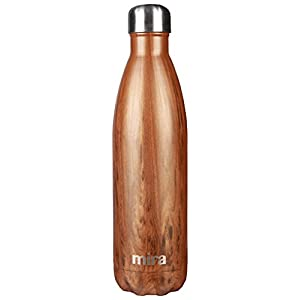 MIRA Vacuum Insulated Stainless Steel Water Bottle | Leak-proof Double Walled Cola Shape Sports Water Bottle | No Sweating, Keeps Your Drink Cold 24 hours or Hot 12 hours | 25 Oz (750 ml) | Wood