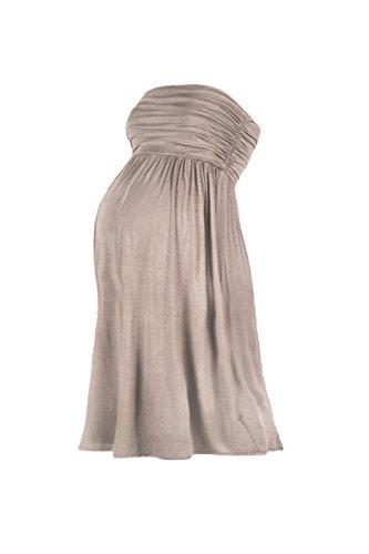Beachcoco Women's Maternity Comfortable Knee Length Tube Dress (M, Mocha)