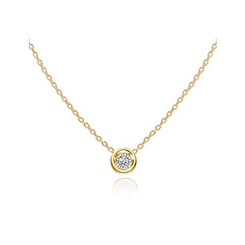 S.Leaf Cubic Zirconia Necklace Solitaire Pendant Sterling Silver Necklace for Women (yellow gold)