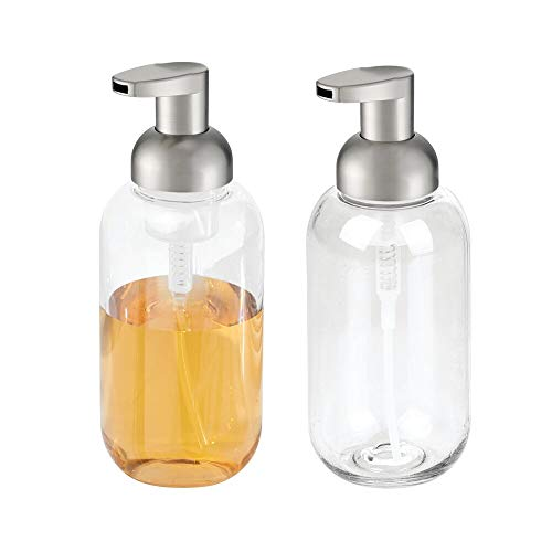 mDesign Modern Refillable Foaming Soap Dispenser Pump Bottle for Bathroom Vanity Countertop, Kitchen and Utility Sink - Save on Soap - Vintage-Inspired, Compact Design - 2 Pack - Clear/Brushed ()