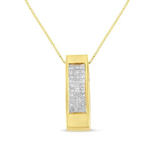 14K Yellow Gold Princess Cut Diamond Pendant Necklace (0.5 cttw, H-I Color, SI1-SI2 (14kt Gold Diamond Name Pendant)