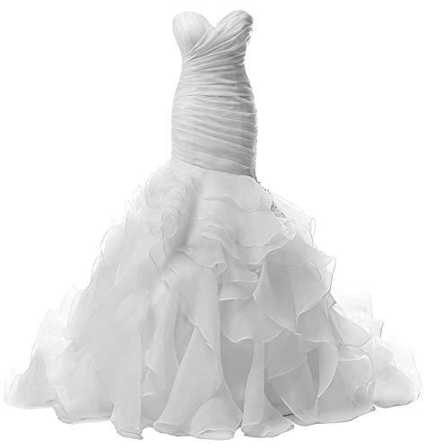 JAEDEN Wedding Dress Mermaid Strapless Bridal Dresses Ruffles Wedding Gown Sweetheart Bride Dress Trumpet White