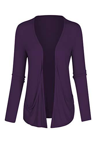 7030 Womens Long Sleeves Drop Pocket Boyfriend Cardigan Open Front Plum Elab M ()