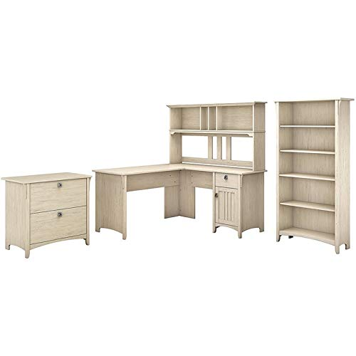 Bush Furniture Salinas 60W L Shaped Desk with Hutch, Lateral File Cabinet and 5 Shelf Bookcase in Antique White