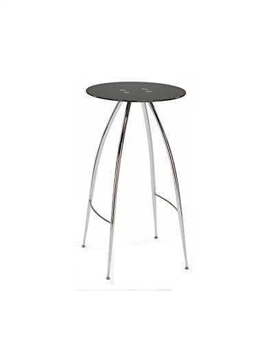Pub Table with Black Tempered Glass and Chrome Legs ()