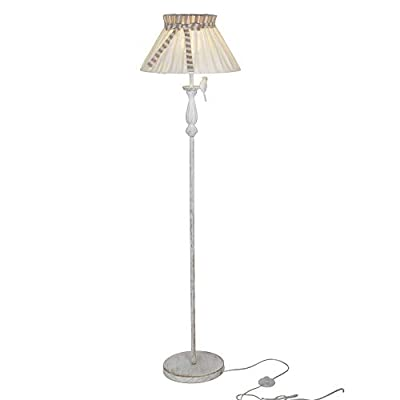 Karmiqi Farmhouse Floor Lamp Tall Vintage Decorative Standing Light, Metal Frame White Fabric Lamp Shade, 53in E26… - 【Elegant Vintage Style】This bedroom floor lamp fits anyone who loves mid century style. Elegant shape, polyresin finish, beige shade and vivid bird décor blend well with rustic, vintage, simple, and country styles. Easily fits any room like bedroom, living room, cottage, farm house, hallway and guest room. 【High Quality Material】 This modern floor lamp is integrated with rust-resistant polyresin finish, durable metal base and non-slip bottom. High quality material with durable design helps avoid accidental breakage caused by children or pets. It will serve you for years! 【Bulb Included】This nightstand lamp comes with a FREE warm white light bulb. It provides just the right amount of light, bright but not blinding, muted but efficient. - living-room-decor, living-room, floor-lamps - 31vWonCChxL. SS400  -