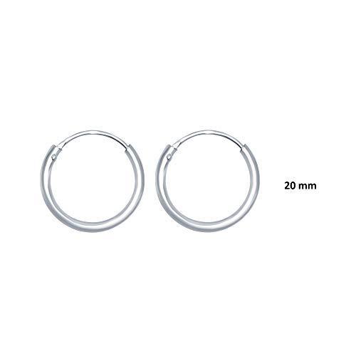 Choose a Diameter 10,12,14,16,18,20mm UniqueLinks 925 Sterling Silver High Polished 2mm Lightweight Circle Endless Hoop Earrings 20mm Diameter