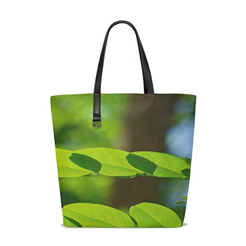 (JTMOVING Women Common Maple Leaf Green Robinia Leaf Veins Handle Satchel Handbags Shoulder Bag Tote Purse Messenger Bags )