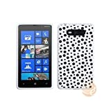 MYBAT Black Mixed Polka Dots/White Candy Skin Cover compatible with Nokia 820 (Lumia 820)