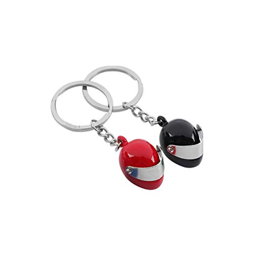 Vosarea 2 Piezas Llavero de Casco de Motocicleta Colgante Decoración de Coche Bolsa (Rojo y Negro)