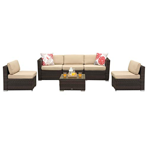 PHI VILLA 6-Piece Outdoor Sectional Sofa Rattan Patio Furniture Set Conversation Set with Tea Table, Beige