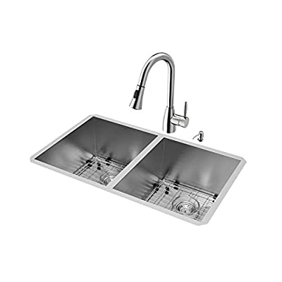 VIGO 32 inch Undermount 50/50 Double Bowl 16 Gauge Stainless Steel Kitchen Sink with Aylesbury Stainless Steel Faucet, Two Grids, Two Strainers and Soap Dispenser