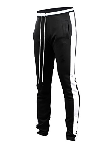 - SCREENSHOTBRAND-S41700 Mens Hip Hop Premium Slim Fit Track Pants - Athletic Jogger Bottom with Side Taping-Black-Medium