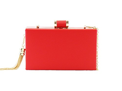 Metal Red Tassel Bag Leather Evening Fashion and Faux Clutch Minaudiere with Trendy Frame Hearty qxBwSS